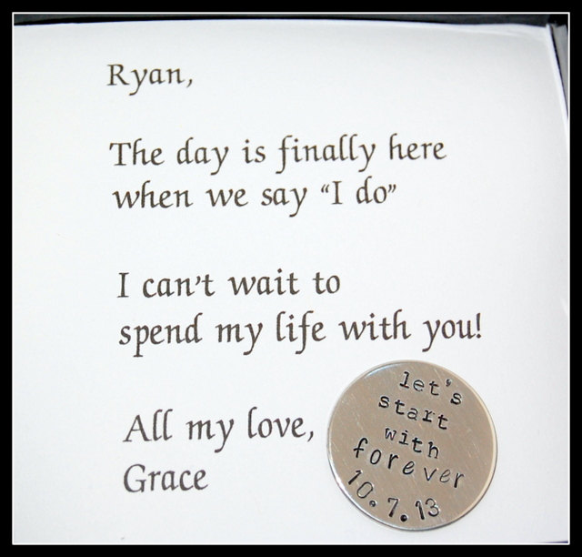 Grooms Gift From Bride, Wedding Day Gift, Lets Start With Forever, Custom Wedding Coin
