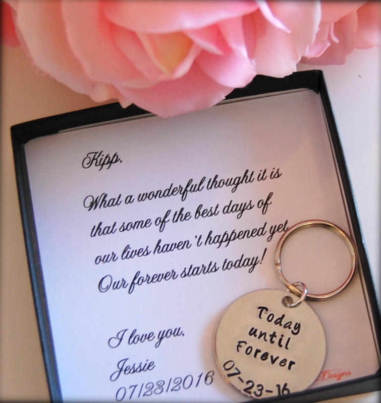 Grooms Gift From Bride, Key Chain, Bride To Groom On Wedding Day, Keychain, Day Bride, Today Until Forever