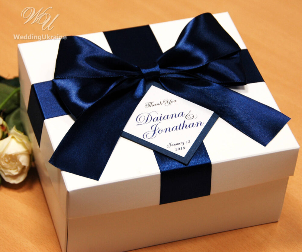 Wedding Gifts Boxes With Navy Blue Satin Ribbon, Big Bow & Personalized Tag Your Names - Custom Wedding Favor Boxes For Guests
