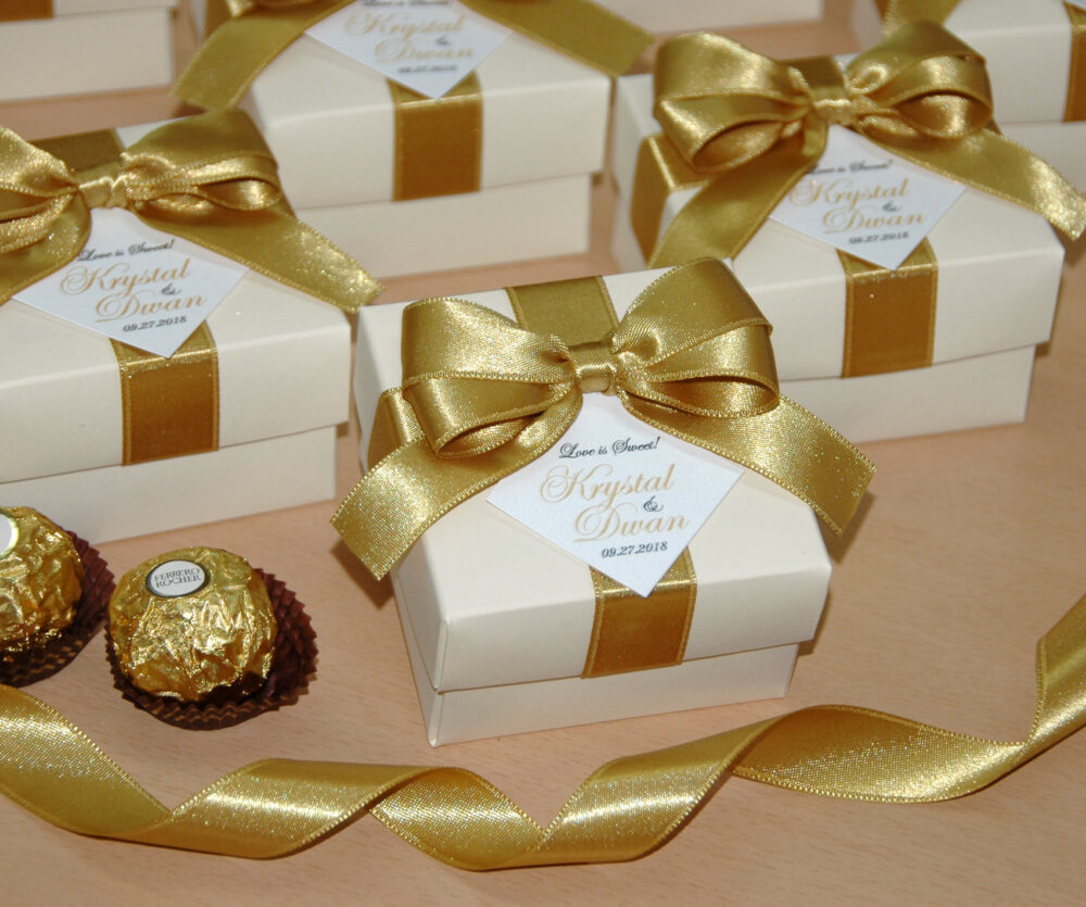 Love Is Sweet Wedding Favor Boxes With Satin Ribbon, Bow & Your Names, Elegant Personalized Ivory Gold Candy Box For Guests
