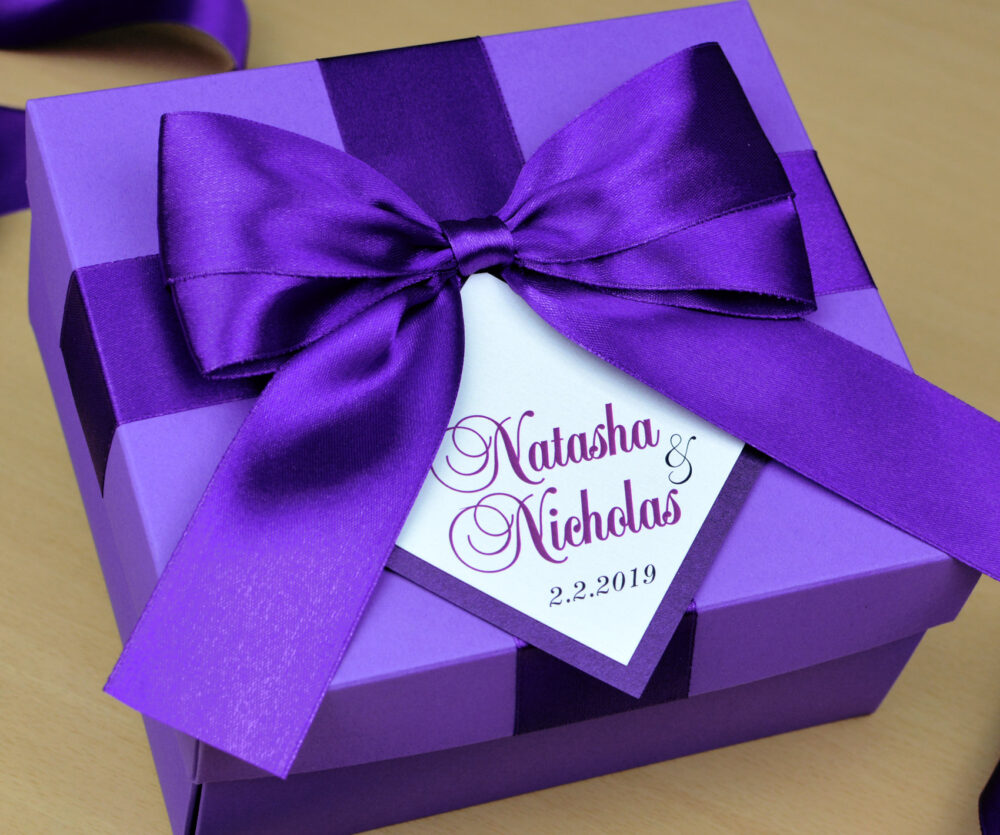 Chic Purple Wedding Favor Boxes With Satin Ribbon, Big Bow & Your Names. Personalized Wedding Gifts Favors For Guests. Custom Box