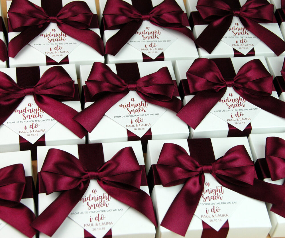 Wedding Favor Boxes With Wine Burgundy Satin Ribbon, Bow & Custom Tag, Elegant Personalized A Midnight Snack From Us To You Box For Guests