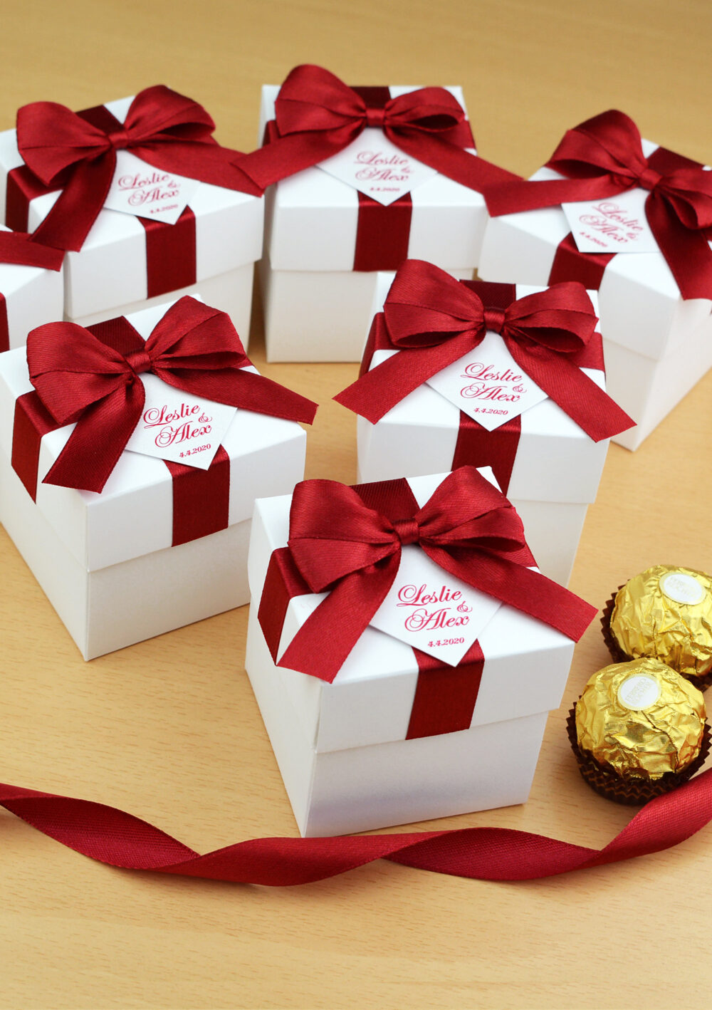 Personalized Wedding Favor Boxes With Red Burgundy Satin Ribbon Bow & Your Names, Elegant Bonbonniere, Custom Candy Box For Guests
