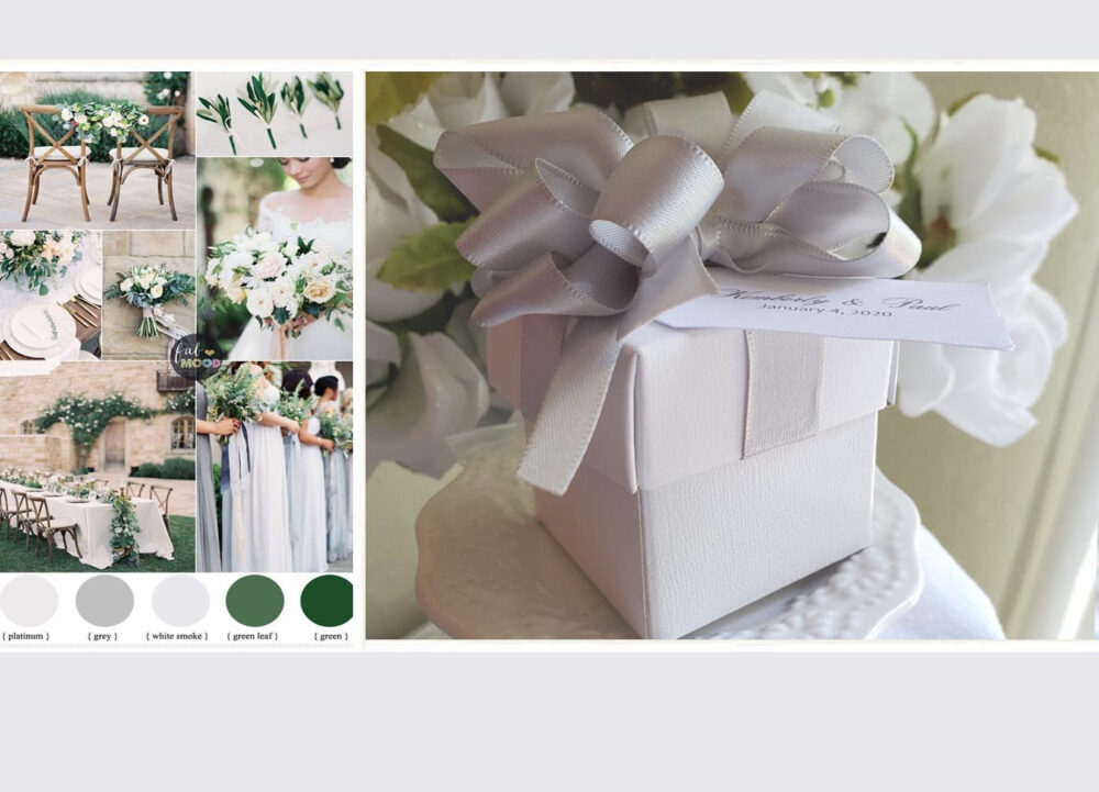 Wedding Favor Boxes Pom Bow 200 At 2.00 Ea. 2 Inch Piece Boxes With Custom Tags, Lt Silver Satin Ribbons & Pom Bows Attached