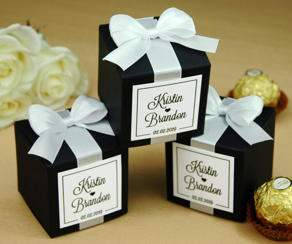 Personalized Wedding Favor Boxes For Guests. Elegant Wedding Bonbonniere. Candy Box With Satin Ribbon, Bow & Custom Tag