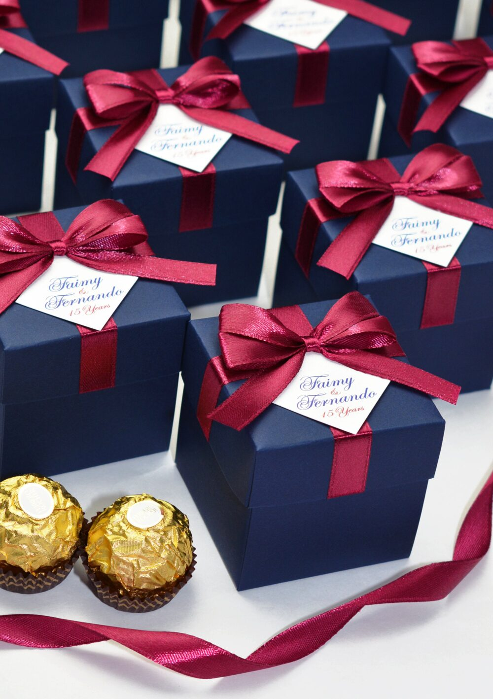 Navy Blue & Burgundy Personalized Wedding Favor Box With Satin Ribbon Bow & Your Names, Anniversary Bonbonniere, Boxes For Guests
