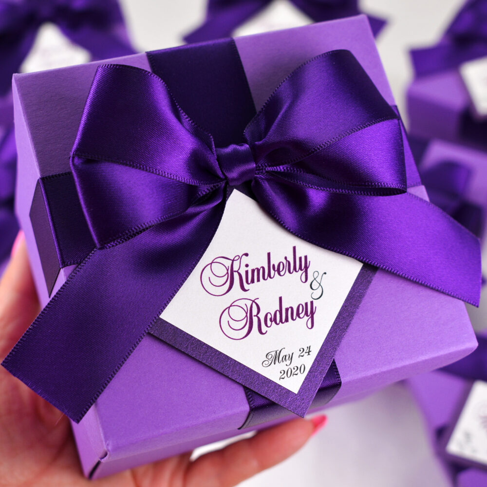 Purple Wedding Favor Box With Satin Ribbon Bow & Custom Names, Elegant Personalized Party Favor Boxes Tag For Guests