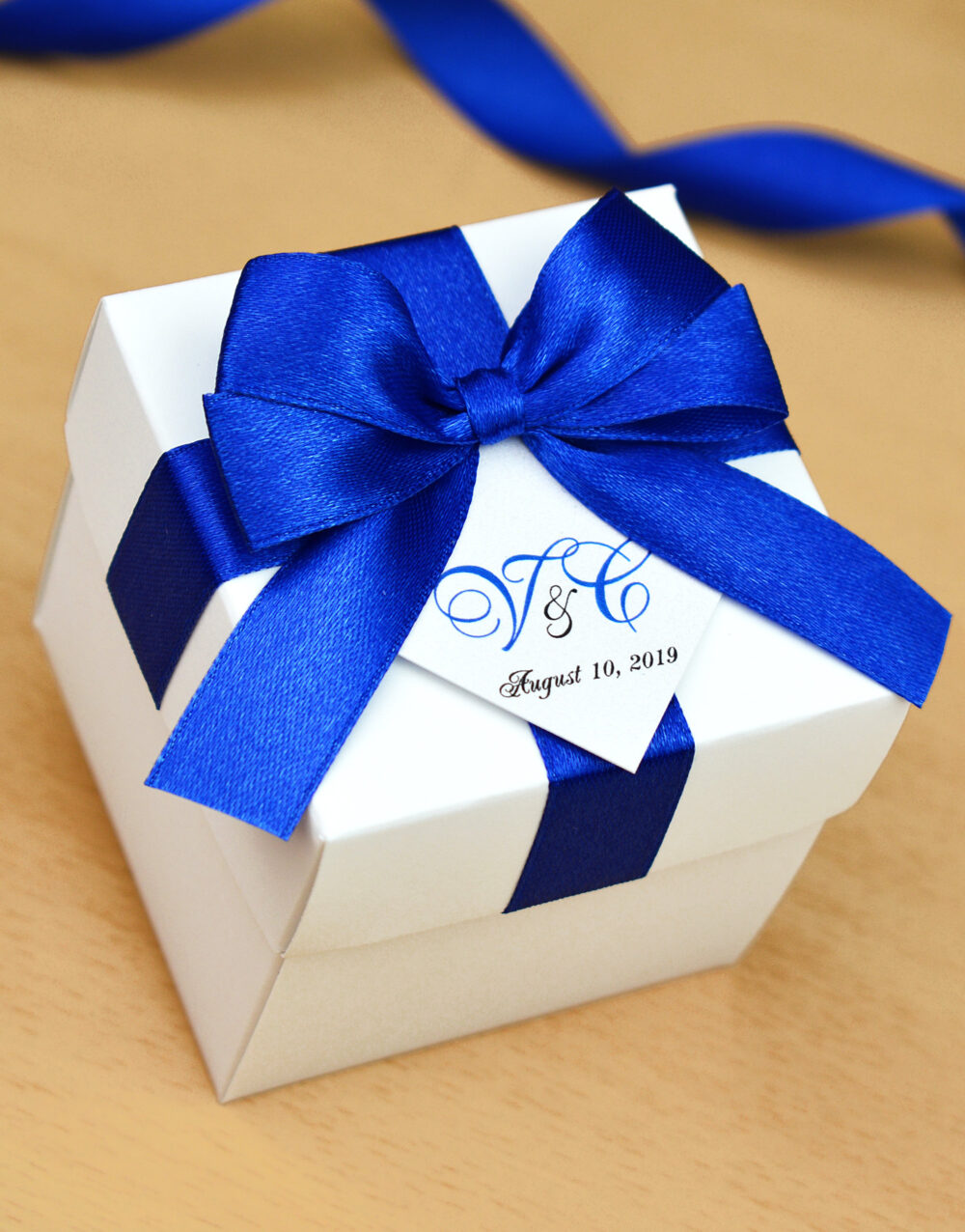 Royal Blue Wedding Favor Box, Bonbonniere With Satin Ribbon Bow & Your Initials Personalized Weddings Candy Boxes For Guests