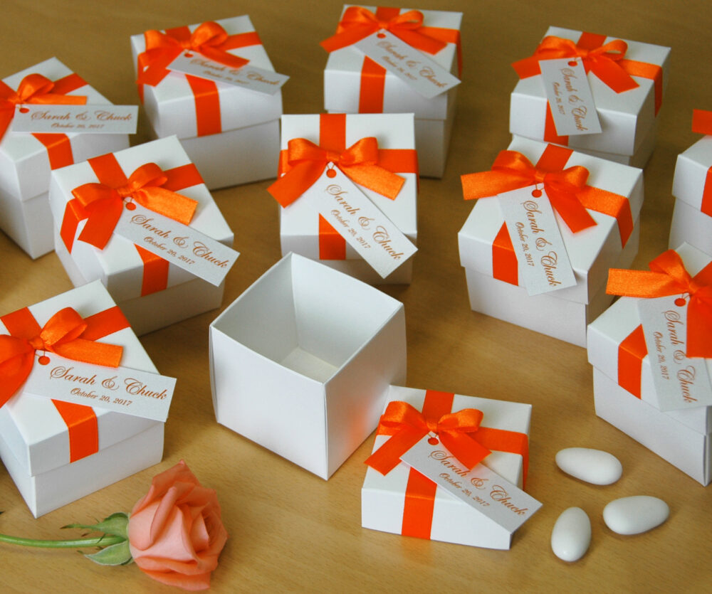 Wedding Favor Boxes, Personalized Box, Bonbonniere, Elegant Box With Orange Satin Bow & Tag