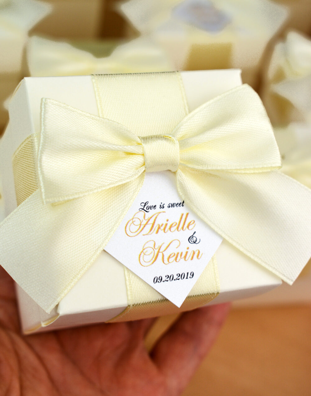 Ivory Wedding Favor Boxes With Satin Ribbon Bow & Custom Tag, Elegant Personalized Wedding Candy Box, Bonbonniere For Guests