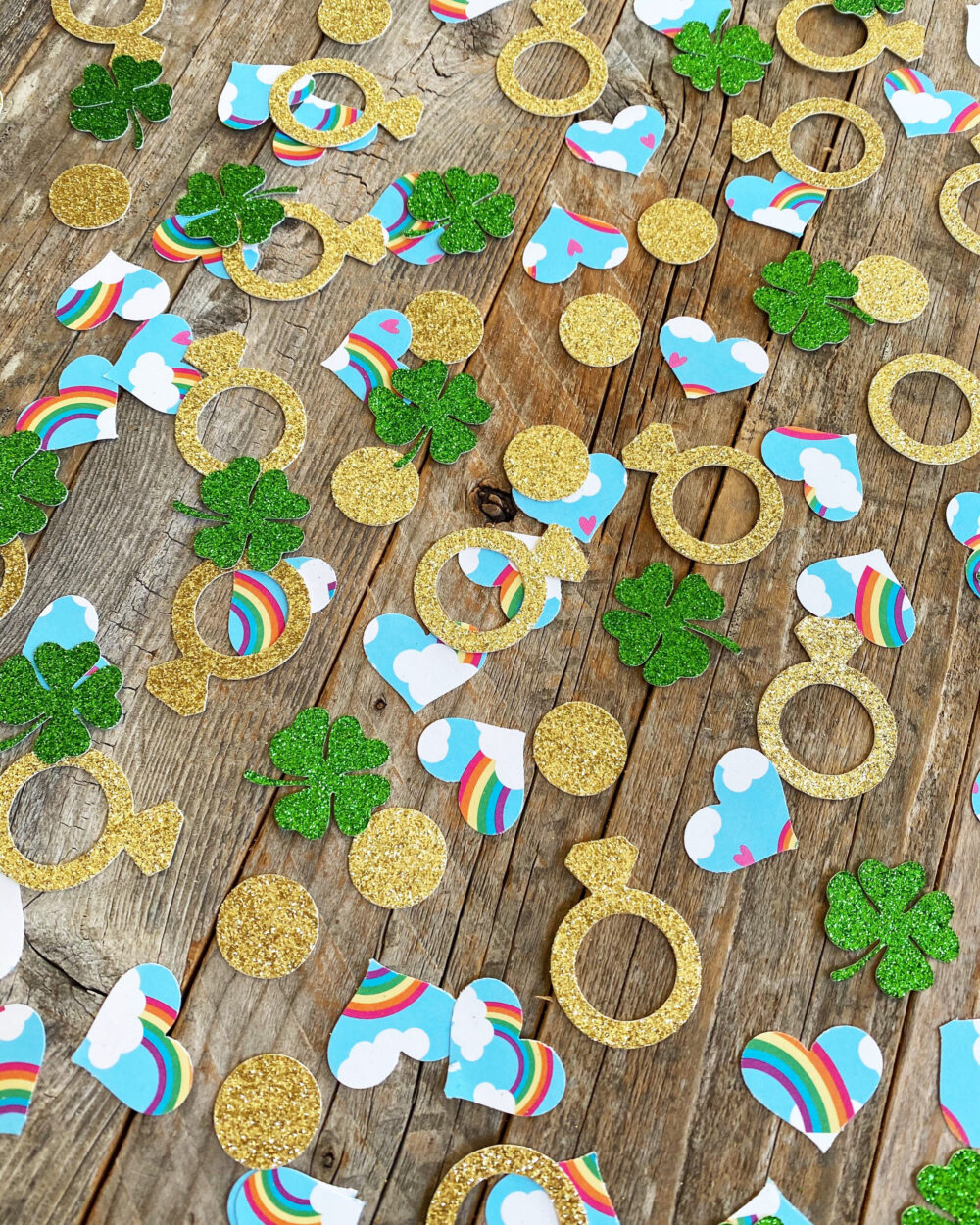 Shamrock St Patrick's Day Rainbow Hearts & Wedding Rings Table Scatter Confetti For Bridal Party Bachelorette Bach Bash Free Ship