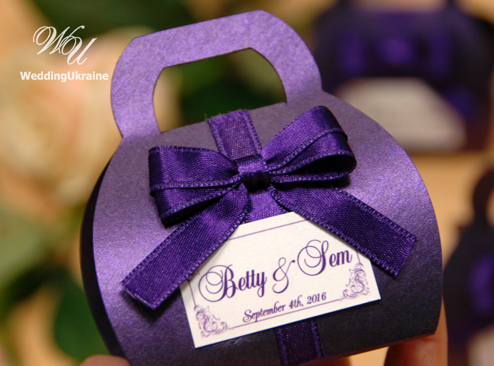 Purple Wedding Favors Boxes For Guests - Elegant Bonbonniere Custom Candy Gift With Satin Bow & Names Favor Tag