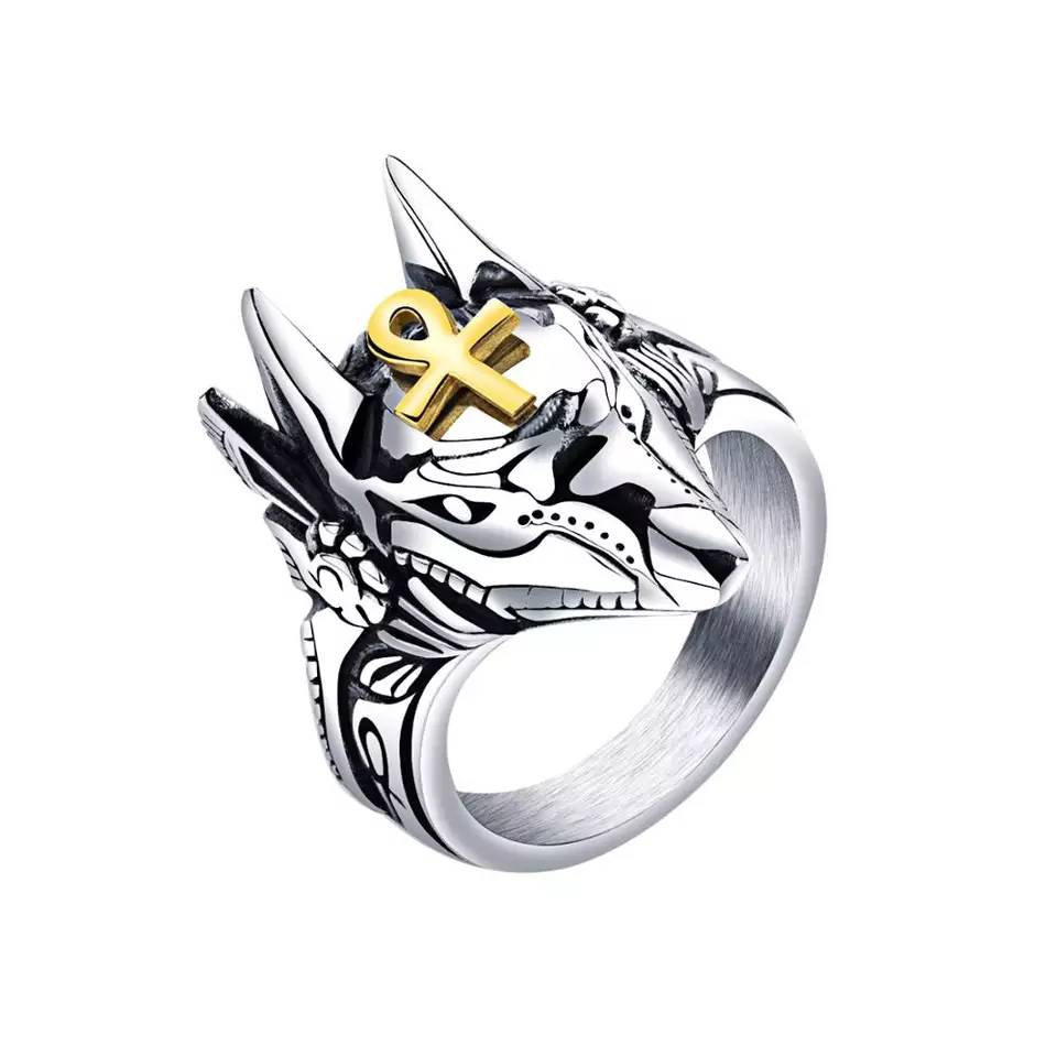 Punk Anubis Ankh Egyptian Cross Finger Ring Exaggerated Sphinx Pharaoh For Men Girls Women Gift For Him