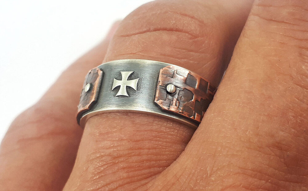 Men Christian Ring, Religious Gift For Men, Rustic Cross Ring, Christian Men, Cross Promise Jewelry, Men Religious Ring