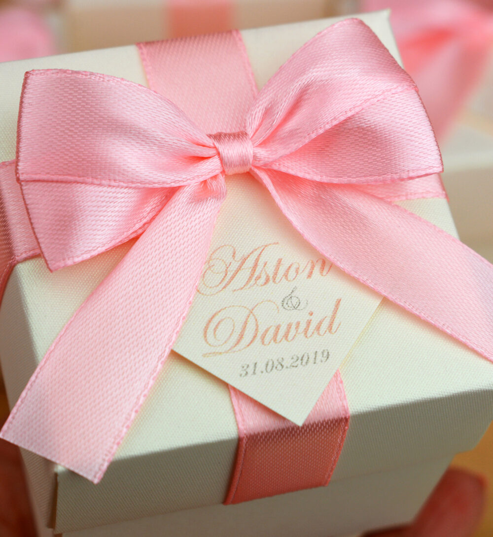 Ivory & Blush Wedding Favor Box, Bonbonniere With Satin Ribbon Bow & Your Names Personalized Weddings Candy Boxes For Guests