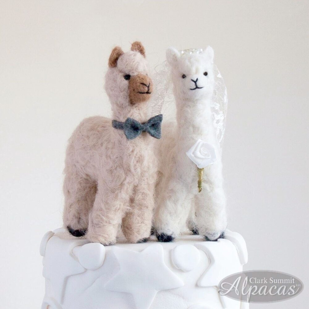 Alpaca Bride + Groom Customized Cake Topper - Unique Wedding Gift For Llama Lovers Realistic Miniature Made With Real Fiber