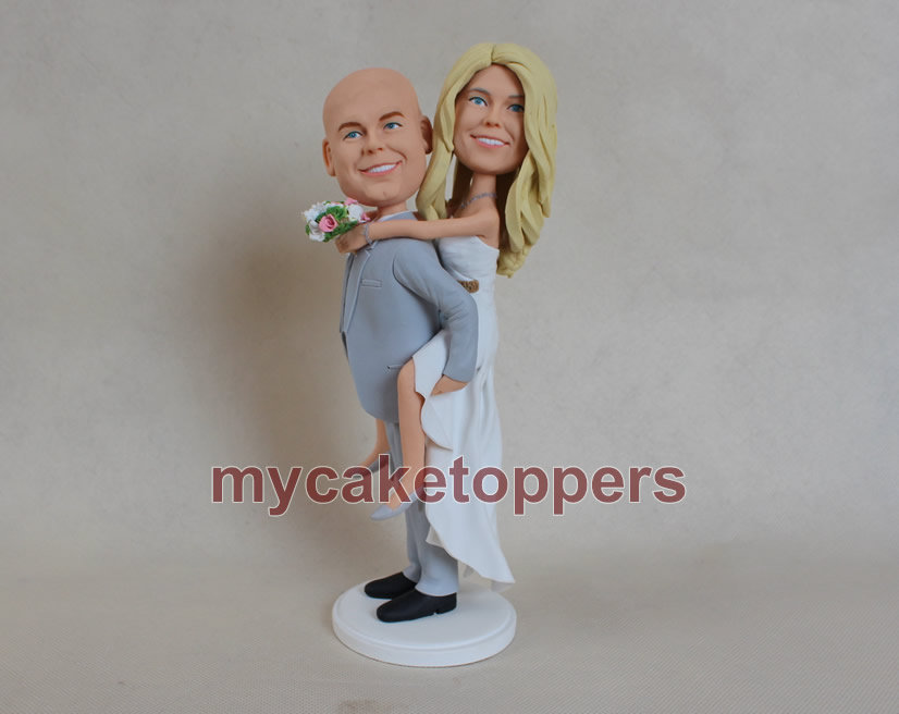 Cake Toppers For Wedding Custom Cake Topper Wedding Bobble Head Groom Carrying Bride & Gift