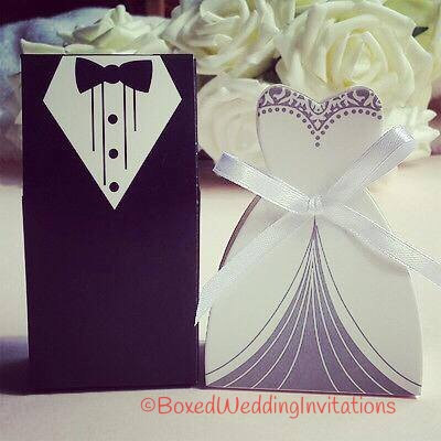 Bride Groom Tuxedo Dress Bridal Wedding Favor Candy Ribbon Box 100 Pcs(50 Sets Party Favors Gifts Decorations