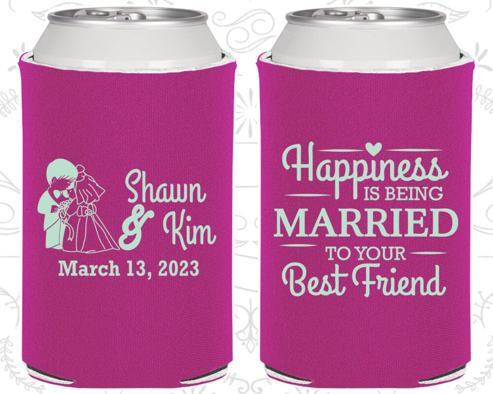 Happiness Is Being Married To Your Best Friend, Unique Wedding Favors, Bride & Groom, Rehearsal Dinner Favors, Custom Can Coolers | 515