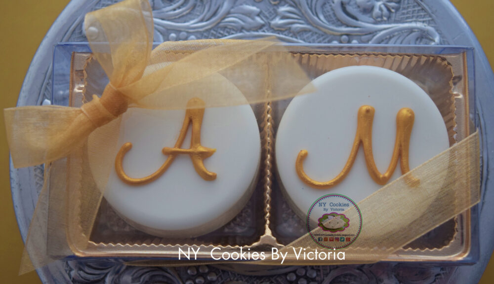 "Bridal Shower Perfect Gift, Engagement Weddings Gift - ""Two Pack"" Chocolate Covered Oreos With Initial Of The Bride & Groom"