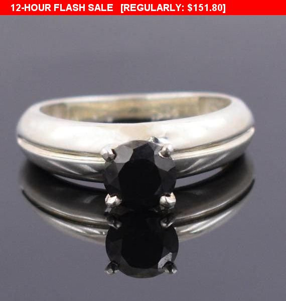 2 Ct Certified Black Diamond Men's Ring in Sterling Silver-Gift For Father-Aaa, Jewelry, Wedding Band, Engagement