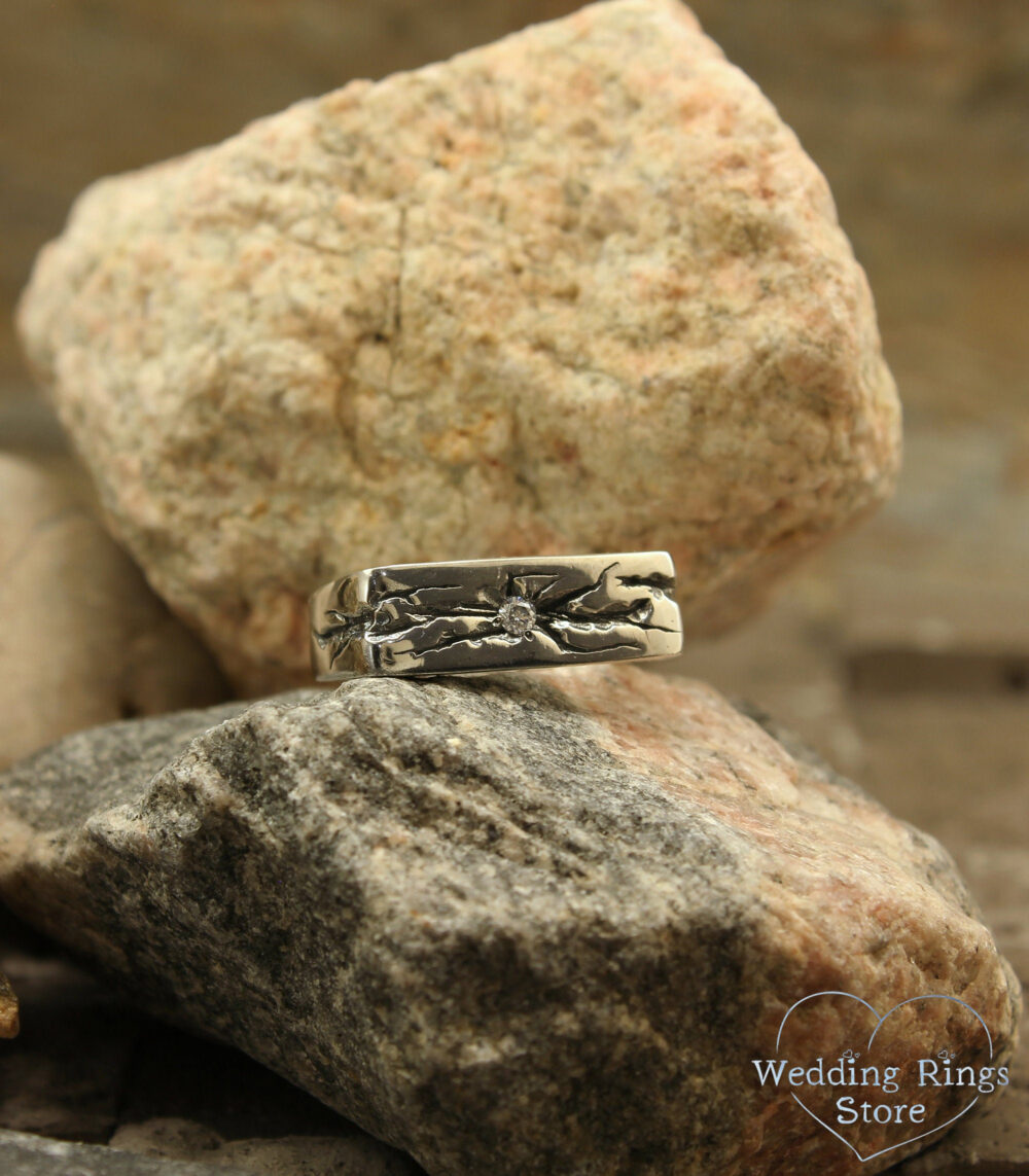 Diamond Mens Heavy Ring, Cracked Silver Unusual Square Band, Thundered Wedding Heavy Gift For Him