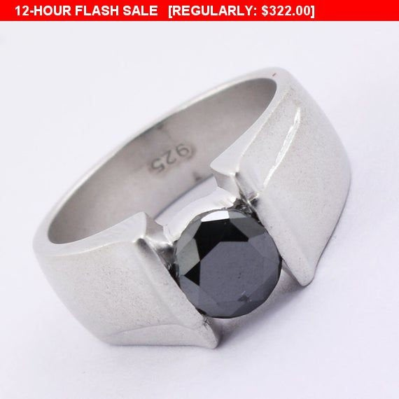 2.00 Ct Certified Black Diamond Men's Ring in Sterling Silver-Gift For Father-Aaa, Jewelry, Wedding Band, Engagement