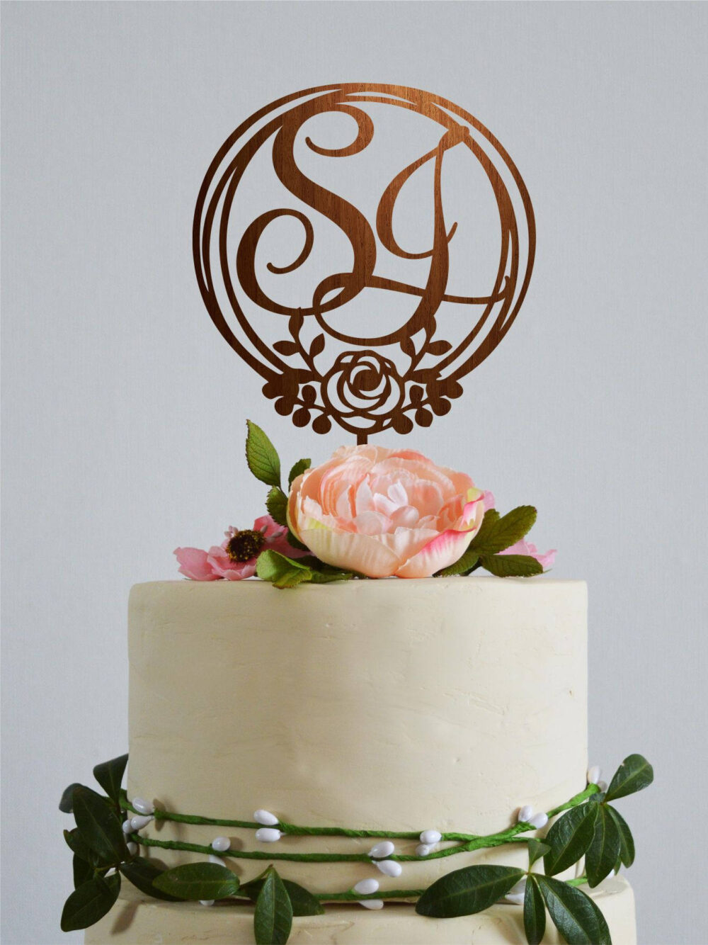 Wedding Monogram Cake Topper, Letters Two Letters Gold Initial Boho Topper Wood