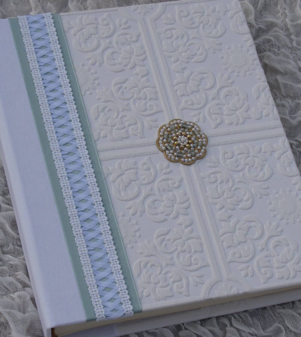 Wedding Photo Album, Wedding Gift, 8x10, Hand-Beaded Medallion, White & Aqua, Corset Style Lace, Hand-Made Album, Book, Album