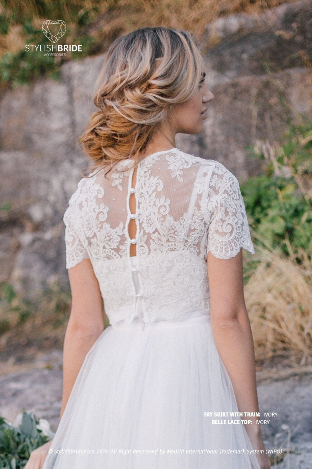 Belle Buttoned Back Wedding Lace Crop Top, White Or Ivory Top Tops, Engagement Lace Top Plus Size