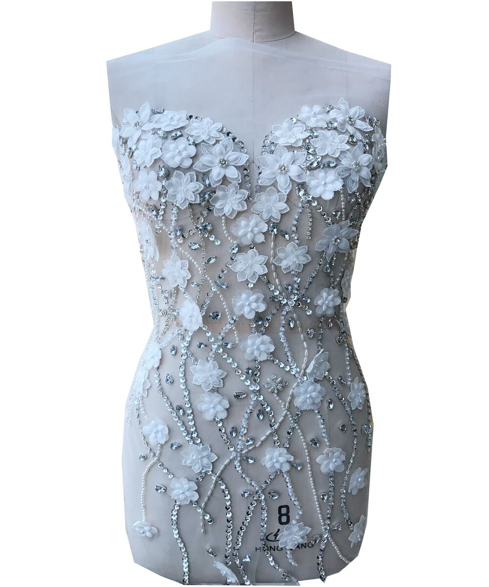 Hand-stitched Corset Rhinestone Beaded Flower Applique, 3D Bridal Wedding Applique