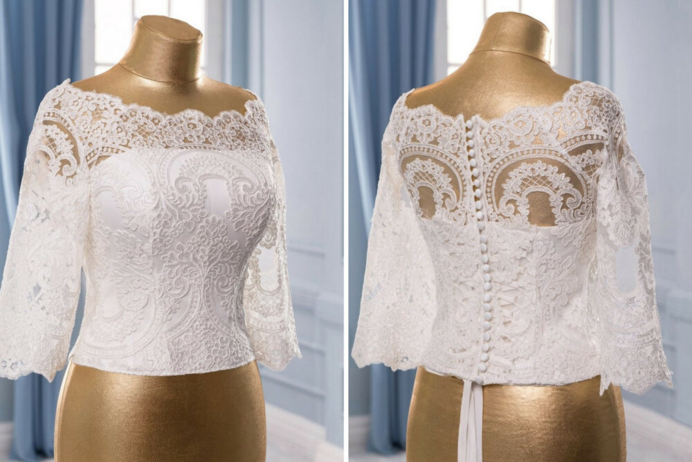 Corset Wedding Separate, White Wedding Lace Corset Neckline White Top Bridal Separate Bodice