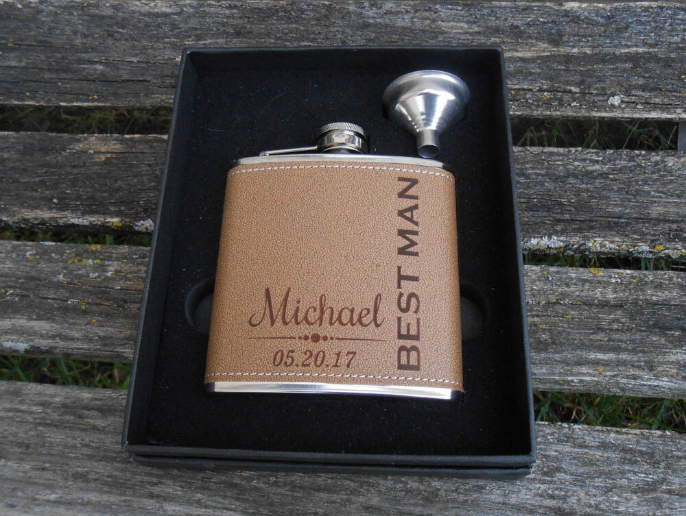 Personalized Flask. Groomsmen Gift, Dad, Father Of The Bride, Groom, Father's Day, Anniversary, Birthday, Brown, Black, Tan Leather. Wedding