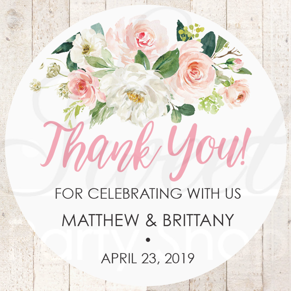 Wedding Favor Stickers, Thank You Sticker Labels, Bridal Shower Favors Pink Floral - Set Of 24 Stickers
