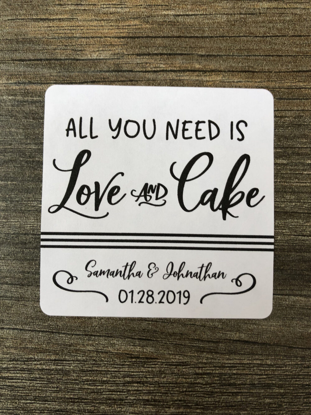 All You Need Is Love & Cake, & Cake Favor, Wedding Favor Stickers, Bridal Shower