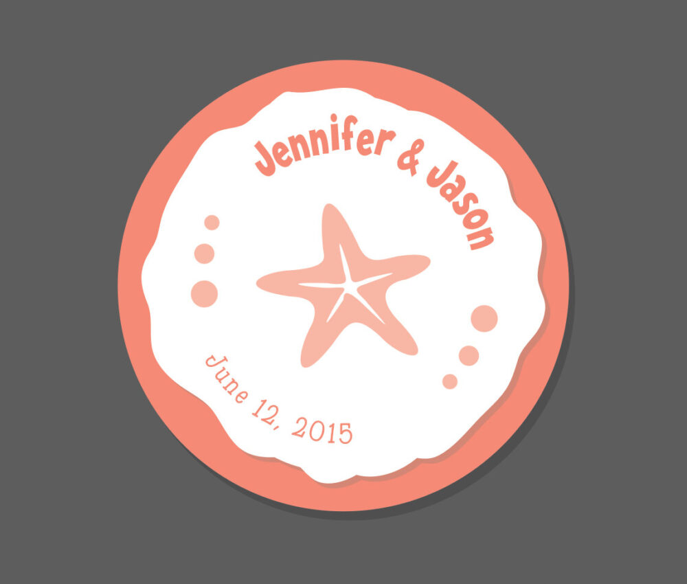 Starfish Wedding Favor Stickers, Ocean Theme, Personalized Tags, Beach Wedding, 24 Coral