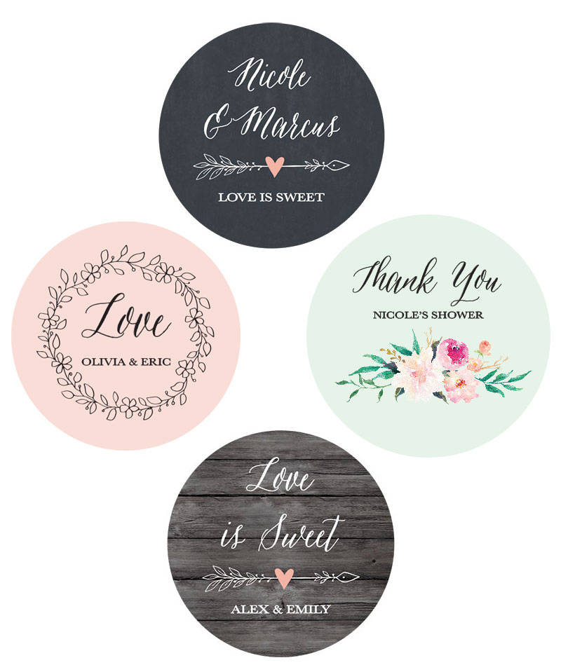 Wedding Favor Stickers Labels Personalized Custom For | Eb4007Gdn-Mp - 24| Stickers
