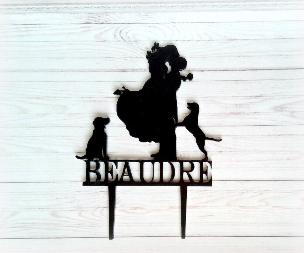 Personalized Wooden Wedding Cake Topper Bride & Groom Dog Couple Silhouette Cake Topper Kissin