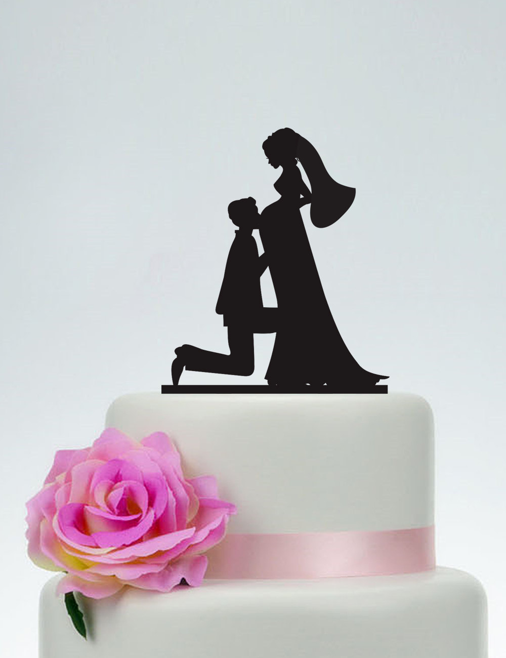 Pregnant Wedding Cake Topper, Bride & Groom Silhouette Cake Topper, Custom Topper, Unique Topper, Rustic Topper P110
