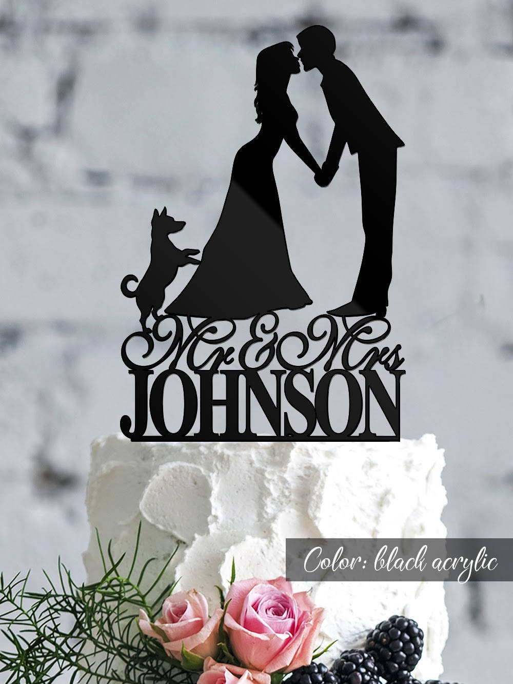 Wedding Cake Topper. Couple Silhouette Cake Topper With Dog. Custom Silhouette Personalized Bride & Groom