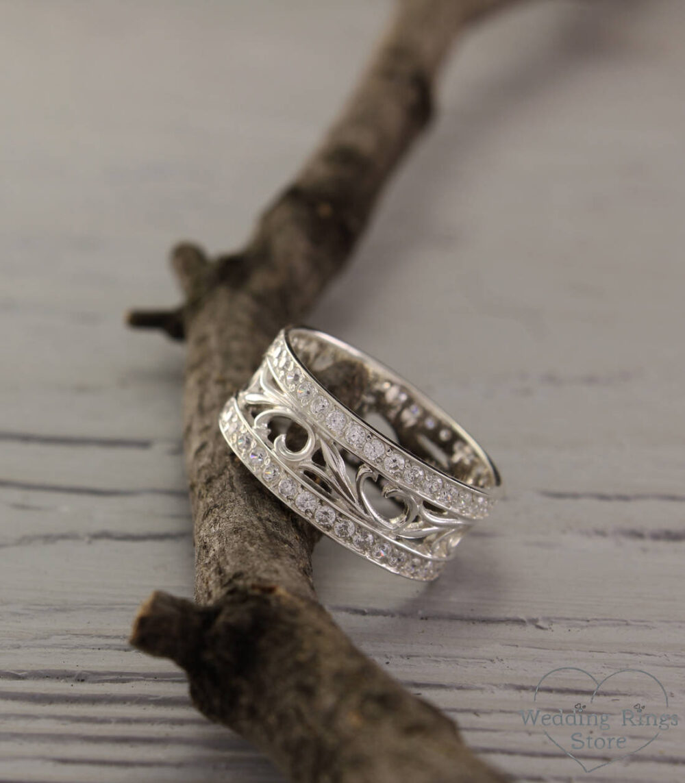 Vintage Style Promise Ring, Nature Silver Band, Leaves Silver Wide Wedding Band Silver, Anniversary Gift For Women