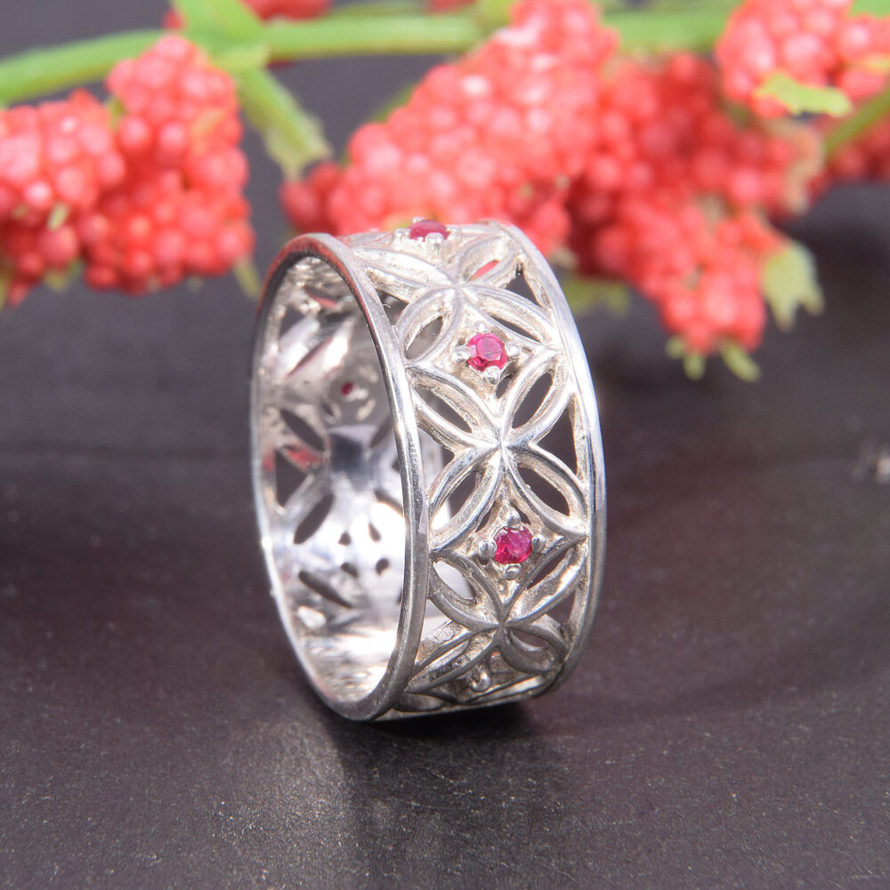 Ruby Ring, Wedding Band Silver, Band Ring Celtic Silver Ruby July Birthstone, Jewelry, Band, 925 Silver