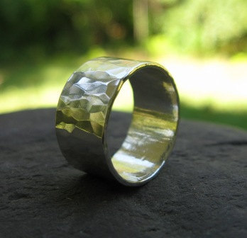 25 Dollar Jewelry Sale . Hammered Wide Sterling Silver Band 3/8 Inch Wide Hammered Band Unisex Silver Wedding .ready To Ship Size 5