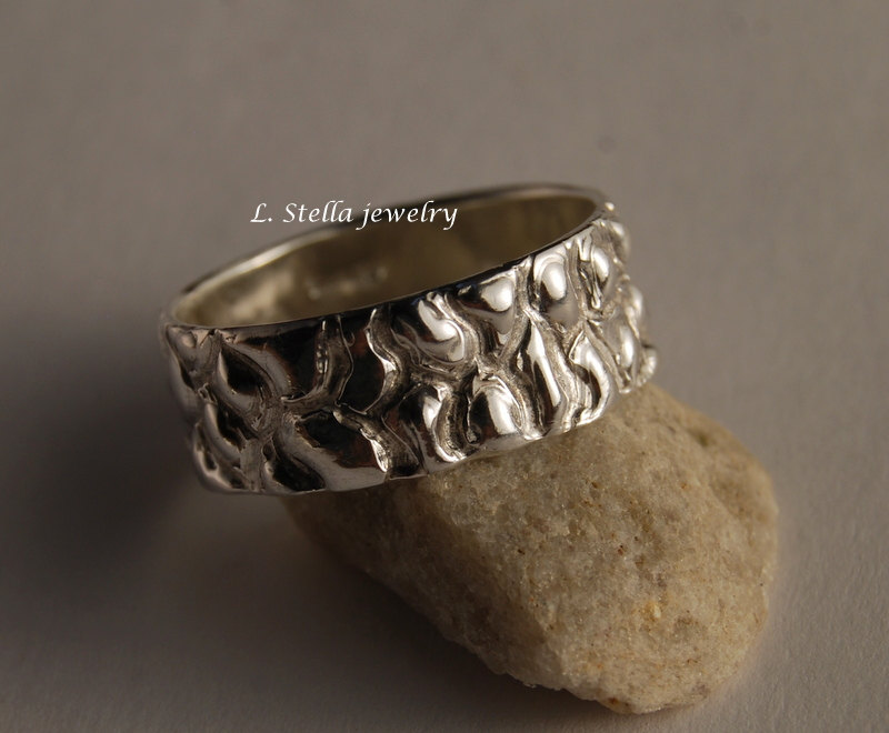 Textured Silver Band/8mm Sterling Peddle Beach Leather Pattern Ring Man's Wedding Women's Wide Bands /Animal