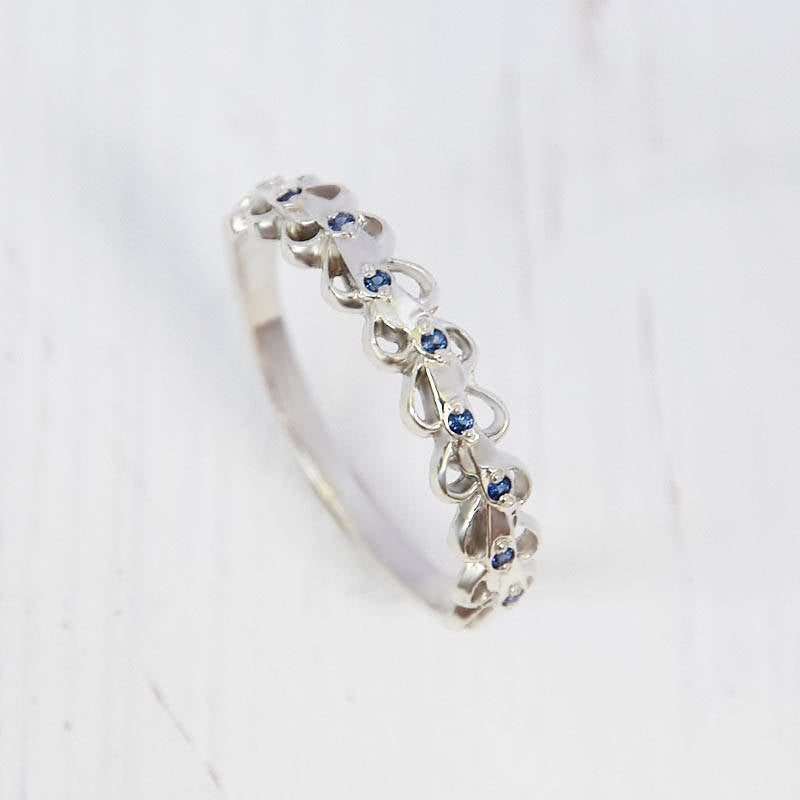 Unique Wedding Band, Sapphire Silver Band Ring, Blue Stone Women Ring For Her