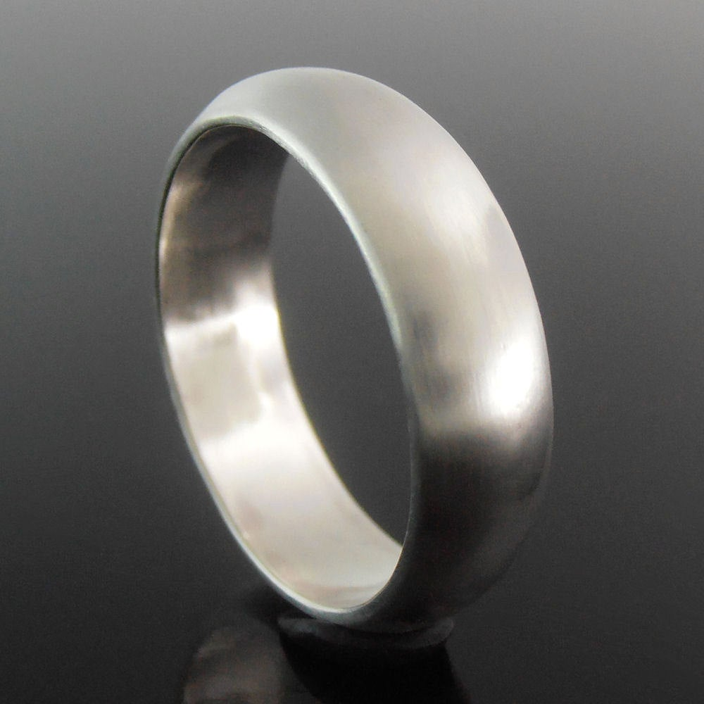 Half Round Sterling Silver Band Ring, Wedding Band, 5.9 X 1.6 Mm, Satin Finish