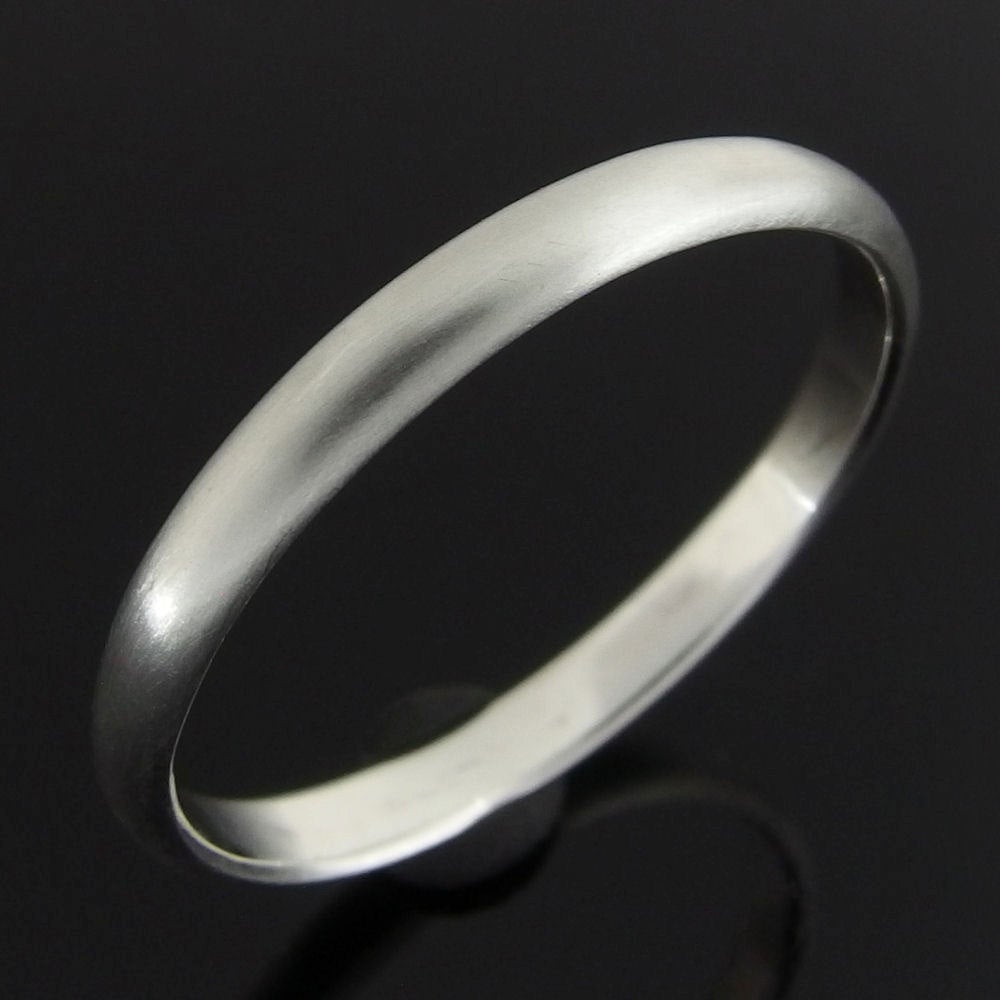 Half Round Sterling Silver Band Ring, Wedding Band, 2.4 X 1.2 Mm, Satin Finish