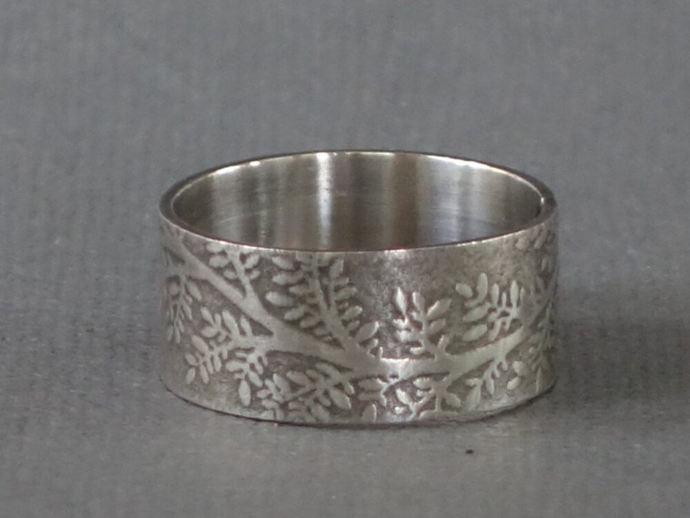 Wide Silver Band, Leaf Nature Ring, Band Unisex Textured Wedding