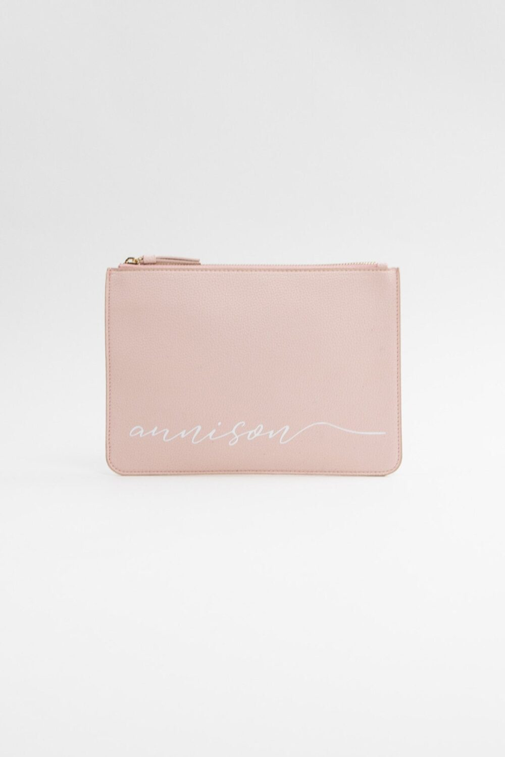 Blush Pink Personalized Vegan Leather Clutch Bag - Script Custom Name Makeup Cosmetic Best Friend Gift Bridesmaid B-Cb05Bl