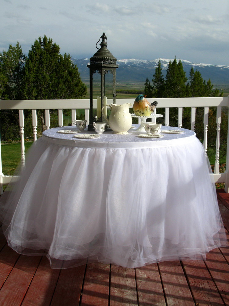 8Ft, Ready To Ship - White Tulle Table Skirt, Tutu Skirt For Wedding, Birthday Or Cake